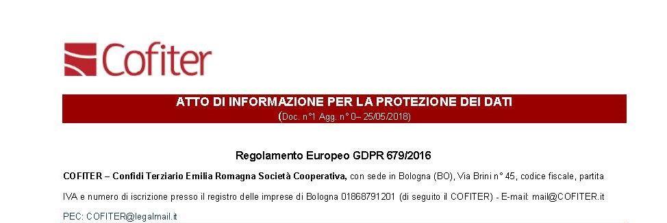 Cofiter si è adeguato al regolamento Europeo Privacy (GDPR)