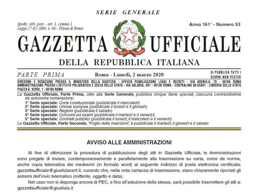 MISURE URGENTI A SOSTEGNO DEL SISTEMA PRODUTTIVO E SOSPENSIONE DEI MUTUI (G.U. N.53 DEL 2 MARZO 2020)